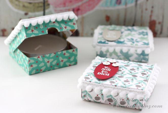 Pizzakarton Teelicht Verpackung Stampin Up 1